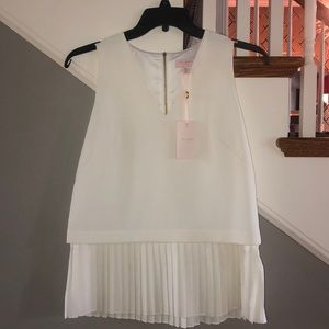 Ted Baker Creme Pleaded Blouse